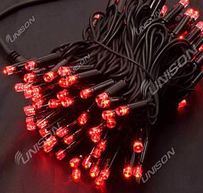 Вулична 100 LED, 10м, чорний дріт 3,3 мм, червоний