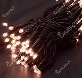 Вулична 100 LED, 8м, чорний дріт 3,3 мм, теплий білий