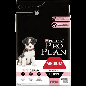 Сухой корм Pro Plan Puppy Medium Sensitive для щенков средних пород склонных к аллергии с лососем, 12 кг