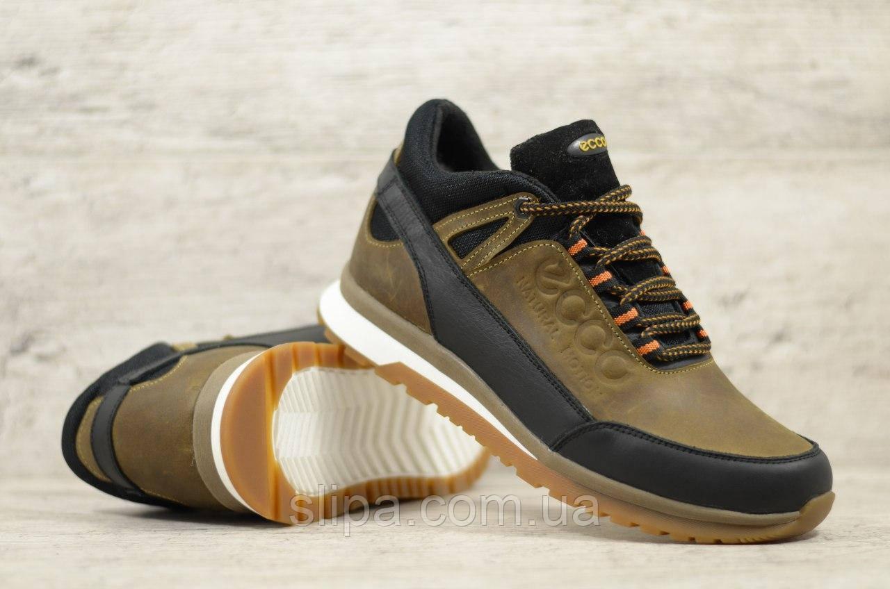 Мужские кожаные зимние кроссовки Ecco коричневые с чёрным