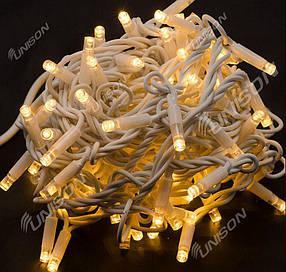 Вулична +FLASH 100 LED, 10м, білий каучук 3,3 мм, білий теплий