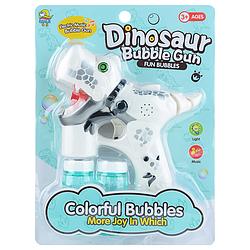 """Музыкальный пистолет, пускающий мыльные пузыри """"Динозавр"""" (белый)"""