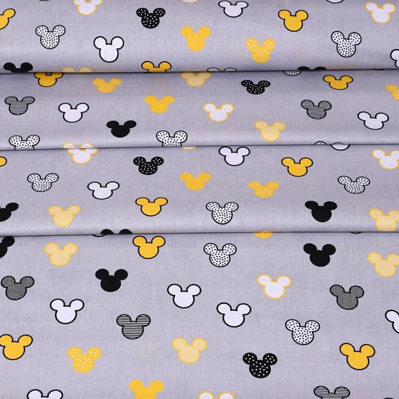 ✁ Отрезы Хлопковой ткани Микки желто-черные на сером