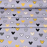 ✁ Отрезы Хлопковой ткани Микки желто-черные на сером, фото 1