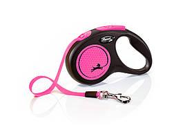 Flexi Neon S стрічка 5 метрів до 15 кг повідець-рулетка для собак рожева