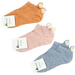 Шкарпетки жіночі бавовняні короткі з вишивкою «Ромашка», 37–41 розмір