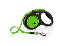 Flexi Neon S стрічка 5 метрів до 15 кг повідець-рулетка для собак зелена