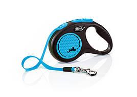 Flexi Neon S стрічка 5 метрів до 15 кг повідець-рулетка для собак синя