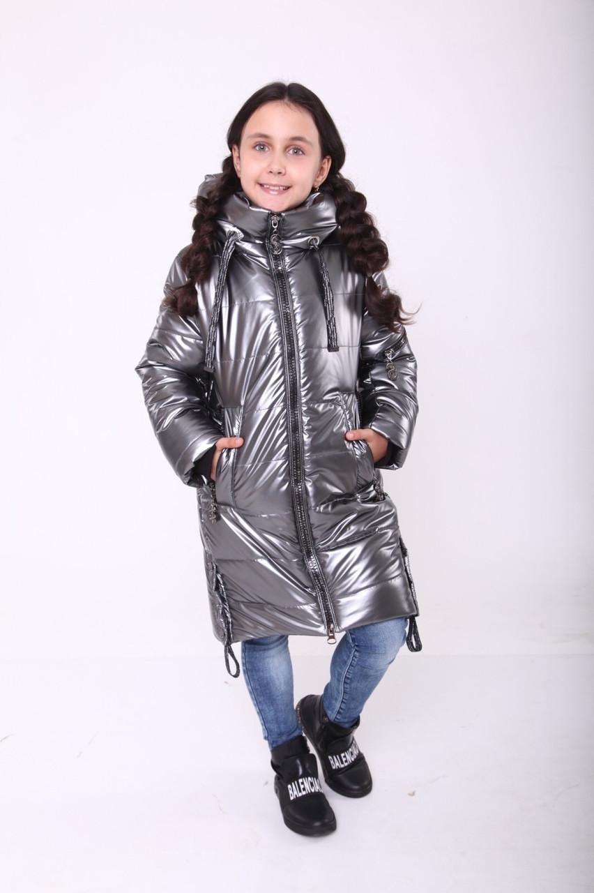 Зимове пальто для дівчинки 36-44 Сірий