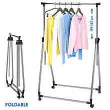 Стійка для одягу Tatkraft Halland складана на коліщатках з хромованої сталі 89Шх49Гх99х167В см (13247)