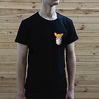Мужская черная футболка, карман с собакой