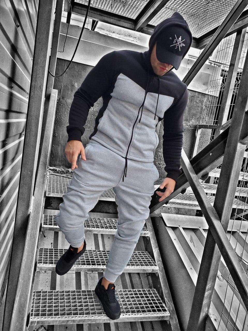 Мужской спортивный костюм c начесом черно-серый OC 16