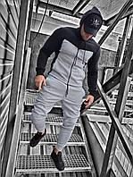 Чоловічий спортивний костюм c до начосом чорно-сірий OC 16, фото 1