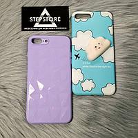 Чехол силиконовый с принтами 3D для iPhone 7 8 plus с тучкой детский цветом фиалка голубой белый фиалковый