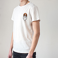 Мужская белая футболка, карман с биглем