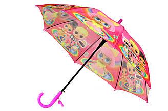 Яркий детский зонт трость полуавтомат на 8 спиц со свистком с рисунком кукол LOL