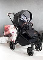 Детская прогулочная коляска черная CARRELLO Epica с дождевиком и реверсным блоком 0+ Space Black