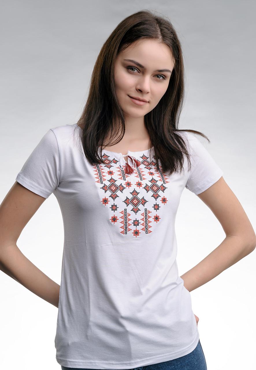 Класична біла жіноча вишита футболка «Зоряне сяйво (червона вишивка)»