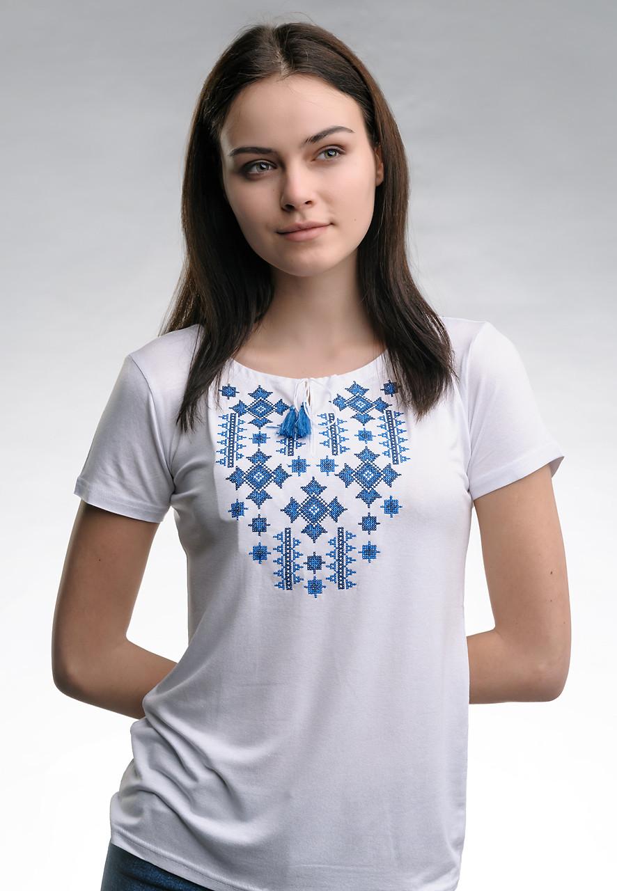 Летняя женская вышитая футболка белого цвета «Звездное сияние (синяя вышивка)»