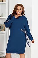 Удобное платье из ангоры в спортивном стиле  с манжетом по подолу с 50 по 58 размер, фото 1
