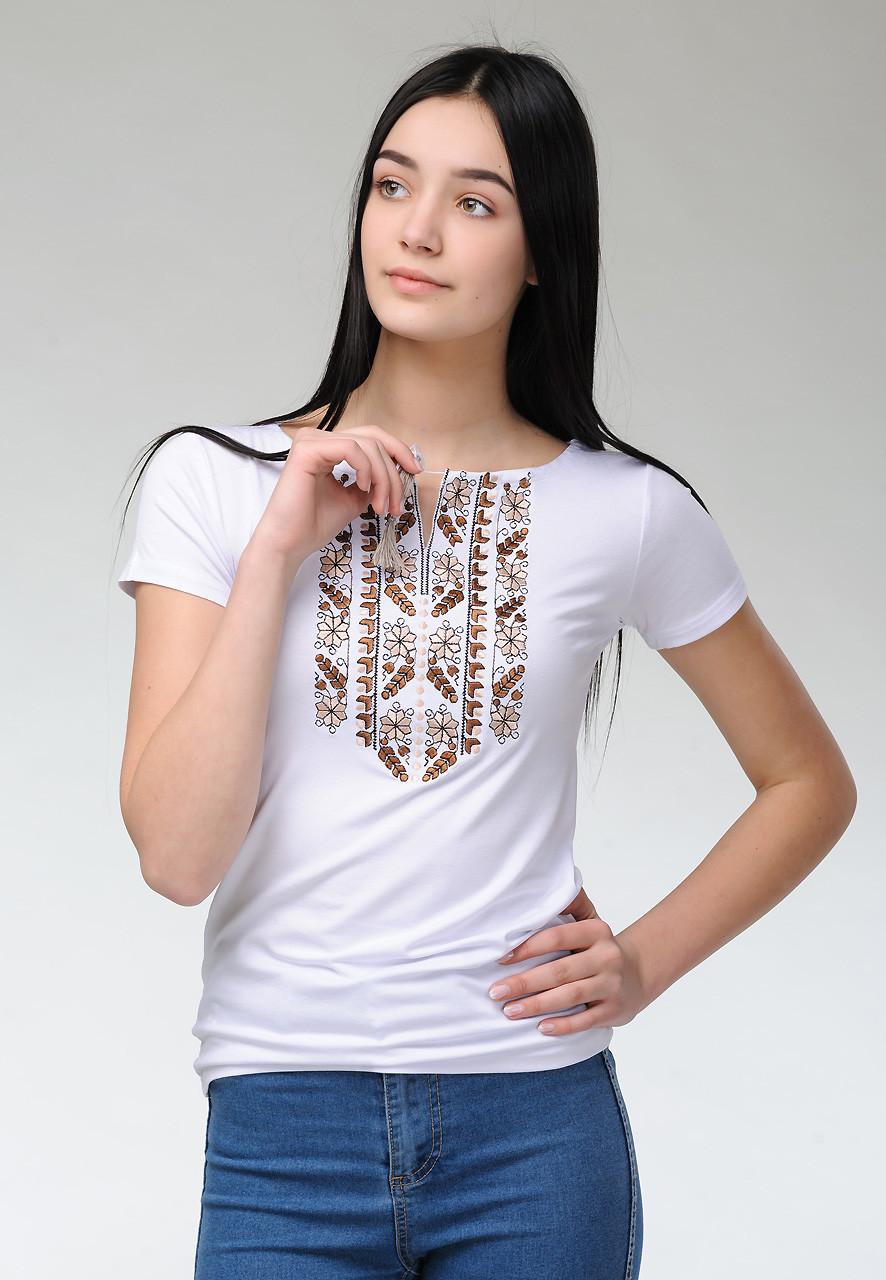 Женская летняя футболка с коротким рукавом с коричневой вышивкой «Природная экспрессия»