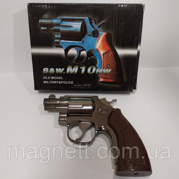 Зажигалка пистолет револьвер M10 HW на подставке