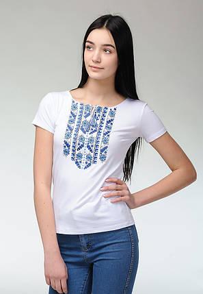 Женская повседневная футболка с коротким рукавом с геометрической вышивкой «Голубая естественная экспрессия», фото 2