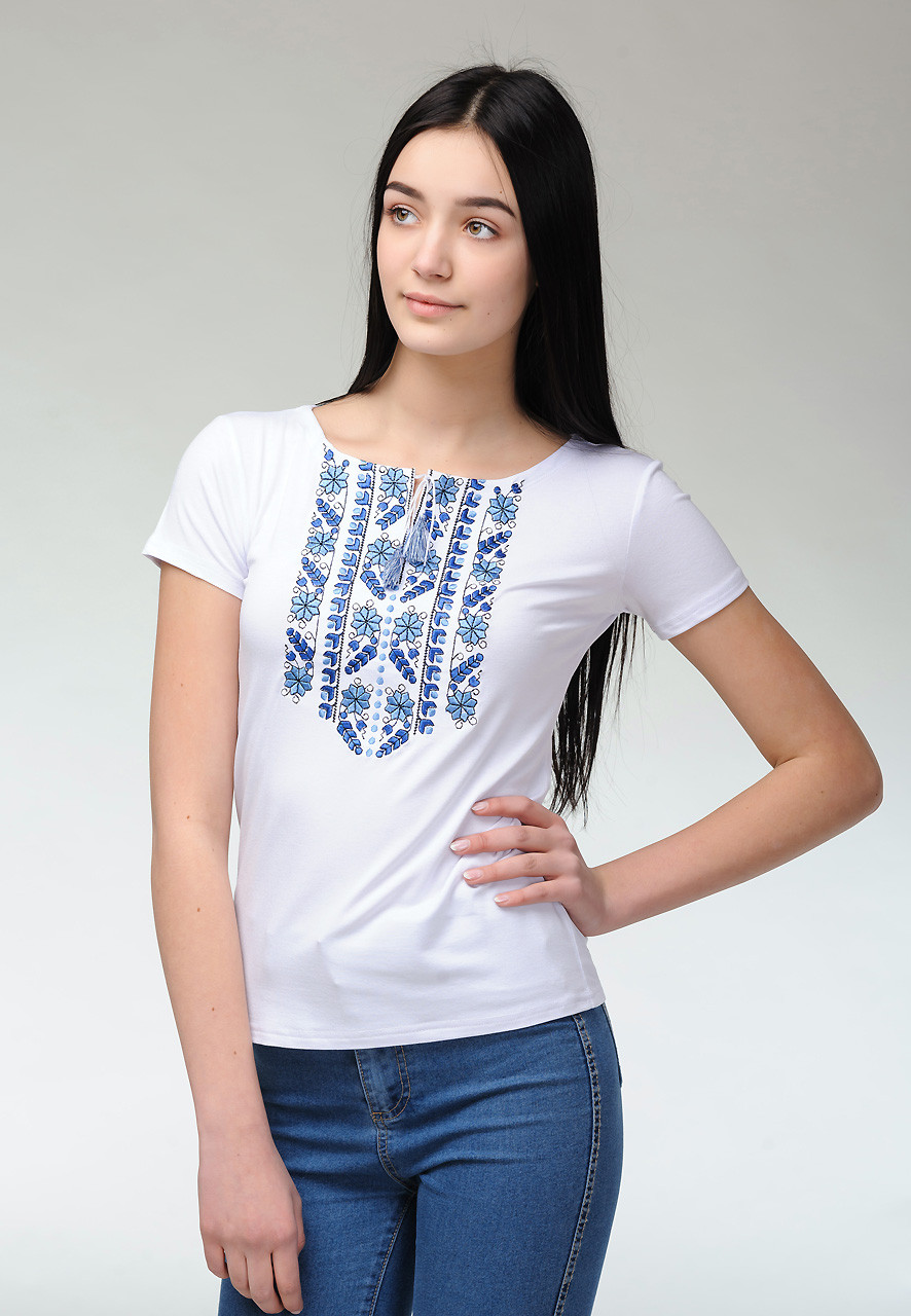 Женская повседневная футболка с коротким рукавом с геометрической вышивкой «Голубая естественная экспрессия»