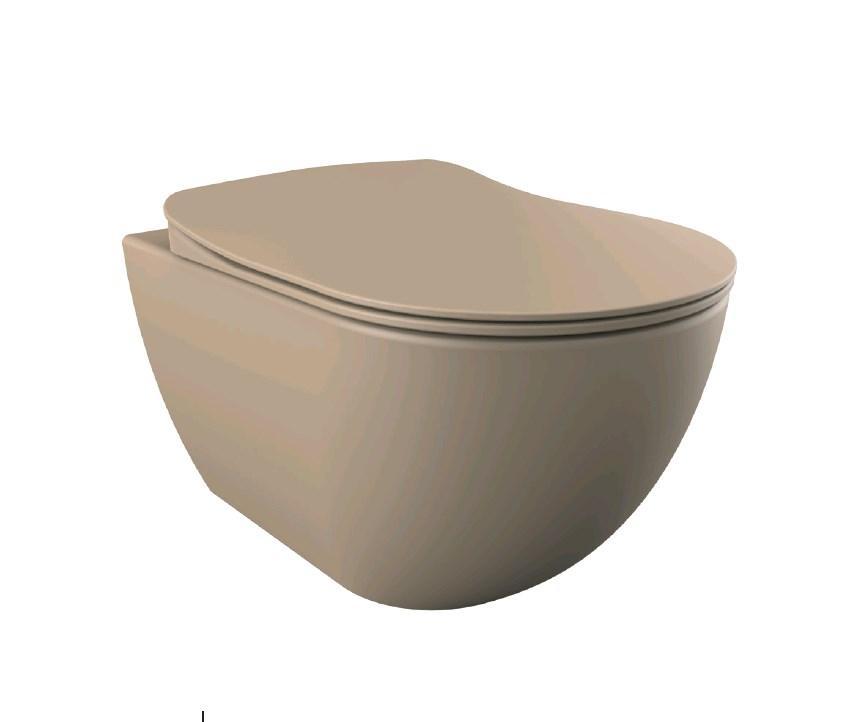 FREE Унитаз подвесной, крышка с сидением Duroplast, с механизмом soft-close, каппучино матовый