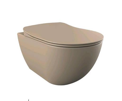 FREE Унитаз подвесной, крышка с сидением Duroplast, с механизмом soft-close, каппучино матовый, фото 2