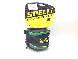 Сумка подседельн. Spelli, Чорна з Зеленим розміри: 17.5 x 9 x10 cm ,обєм від 700 до 1000 мл