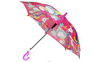 Яркий детский зонт трость полуавтомат на 8 спиц со свистком с рисунком единорога