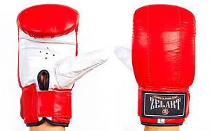 Снарядні рукавички з манжетом на липучці Шкіра ZEL ZB-4001 (M, Червоний)