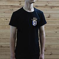 Мужская черная футболка, карман с попкорном