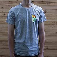 Мужская серая футболка, карман с ручками