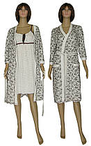 Комплект жіночий домашній, нічна сорочка і халат 19004 Амариліс Вензель коттон Молочно-коричневий