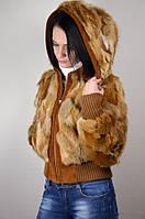 Шубка куртка с капюшоном из лисы, L