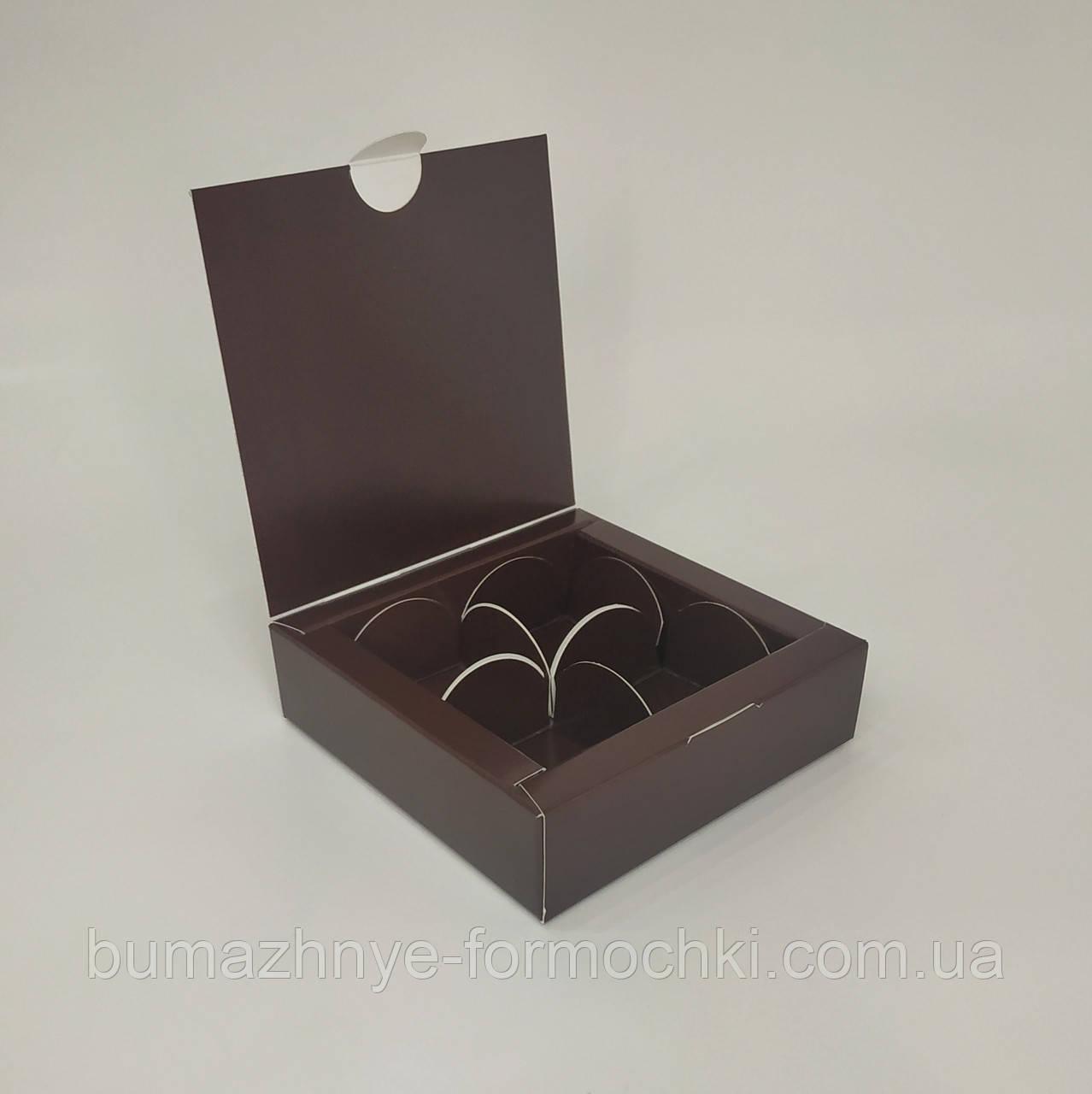 Коричневая коробка на 4 конфеты, 112х112х30 мм