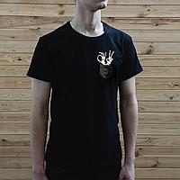 Мужская черная футболка, карман с костлявой рукой
