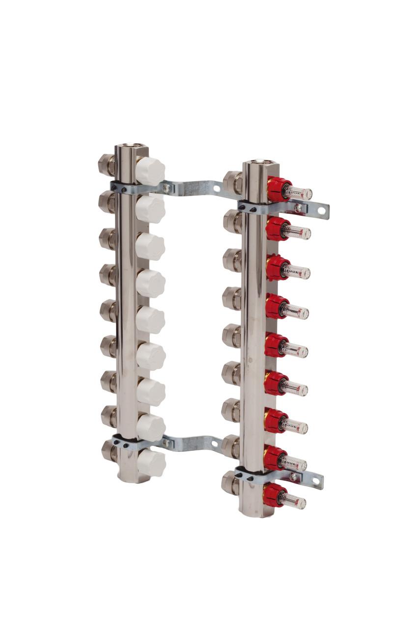 Коллекторная группа с отсекателями и термо клапанами М30х1,5  8 вых. для радиаторов