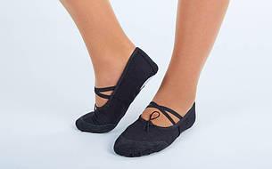 Балетные тапочки черные балетки для танцев тканевые с кожаными нашивками размер 42