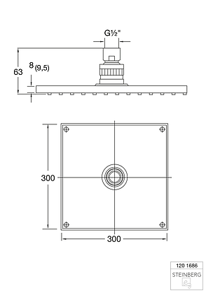 """120 1686 Steinberg Serie 120 Верхній душ 300 x 300 x 8мм з системою """"ізі-клін"""", фото 2"""