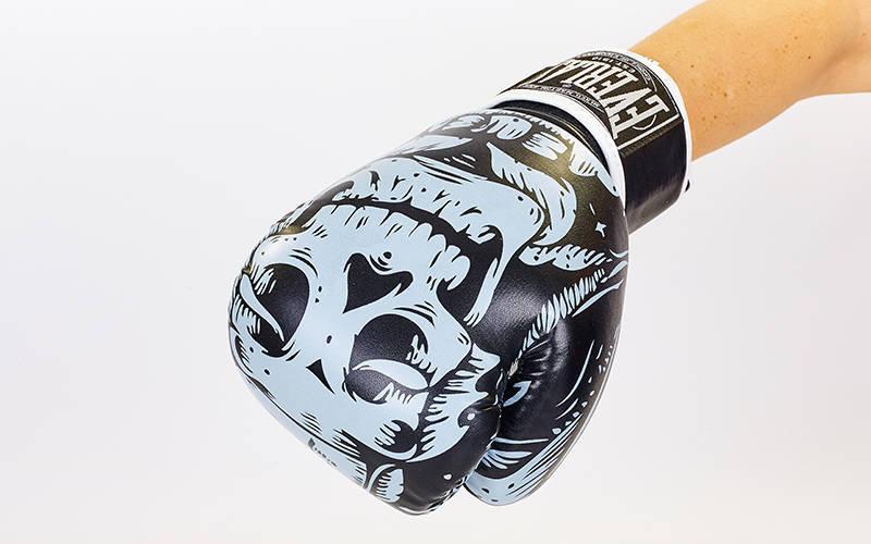 Перчатки боксерские FLEX на липучке EVERLAST SKULL BO-5493 12 унции, Черный