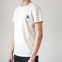 Мужская белая футболка, карман с волной