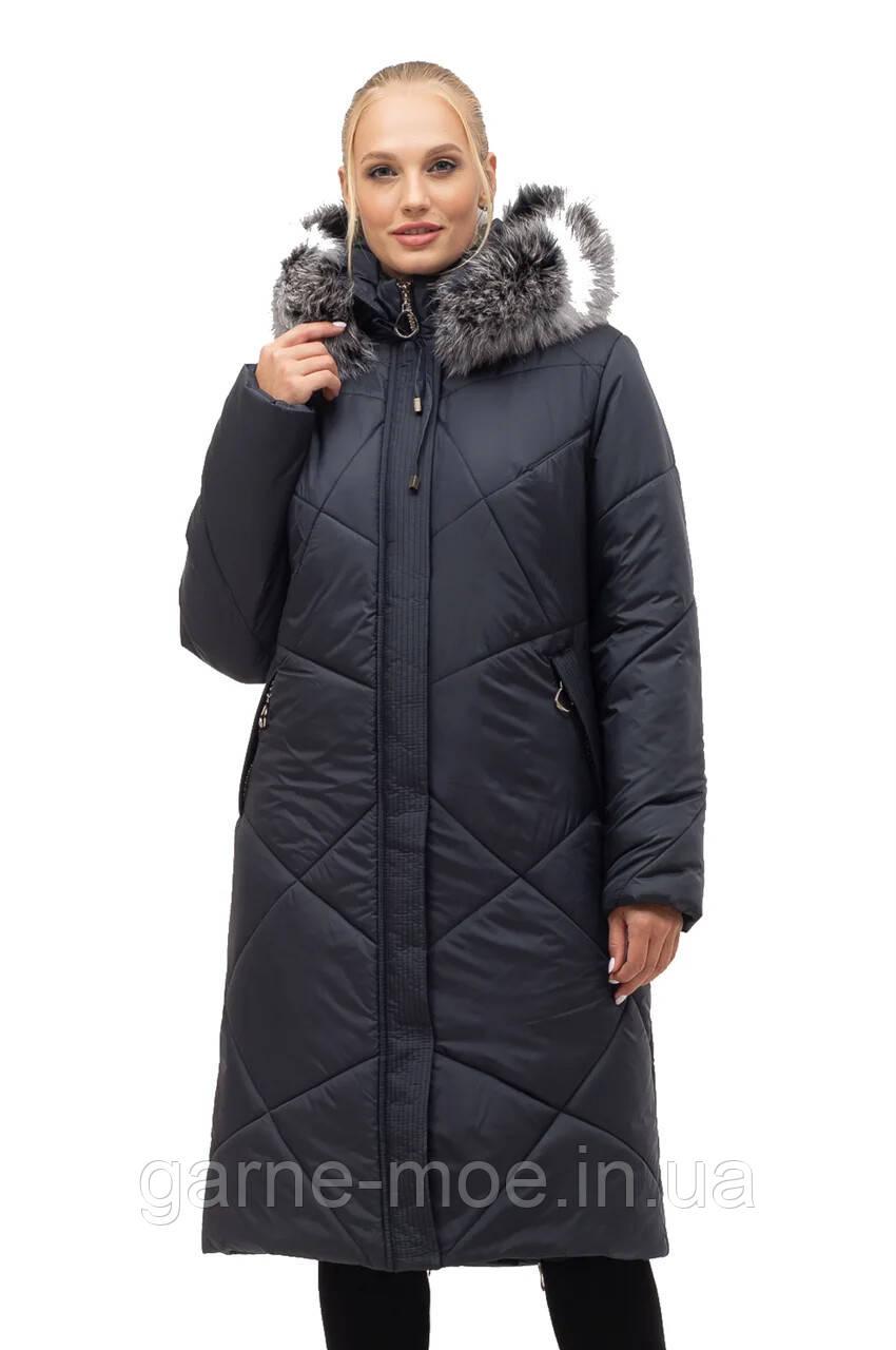 ЛД7150чбк Женское зимнее пальто-пуховик батал с натуральным  мехом  52-70 рр