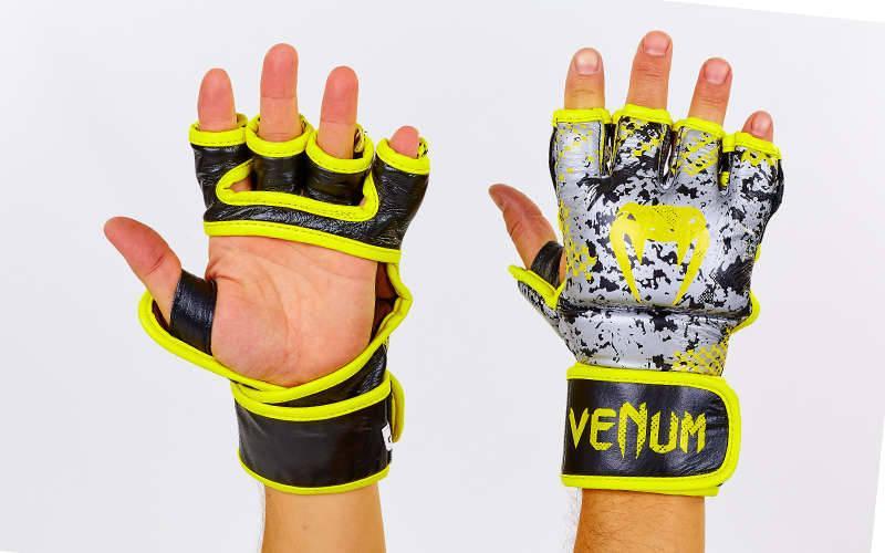 Перчатки MMA кожаные VENUM TRAMO VL-5791 (р-р M-XL, черный-желтый)