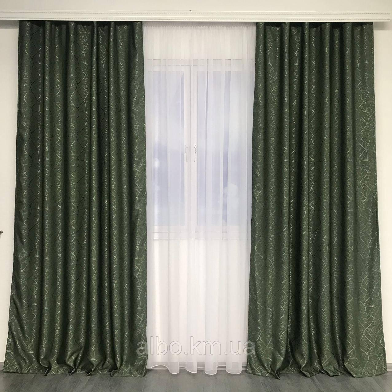 Светоотражающие шторы из льна Блэкаут ALBO 150x270 cm (2 шт) Зеленые (SH-M17-4)
