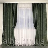Светоотражающие шторы из льна Блэкаут ALBO 150x270 cm (2 шт) Зеленые (SH-M17-4), фото 7