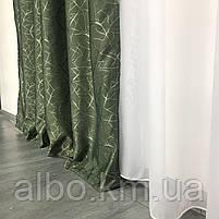 Светоотражающие шторы из льна Блэкаут ALBO 150x270 cm (2 шт) Зеленые (SH-M17-4), фото 6