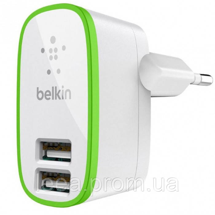 Мережевий зарядний пристрій Belkin (2USB 2.1 A) Білий